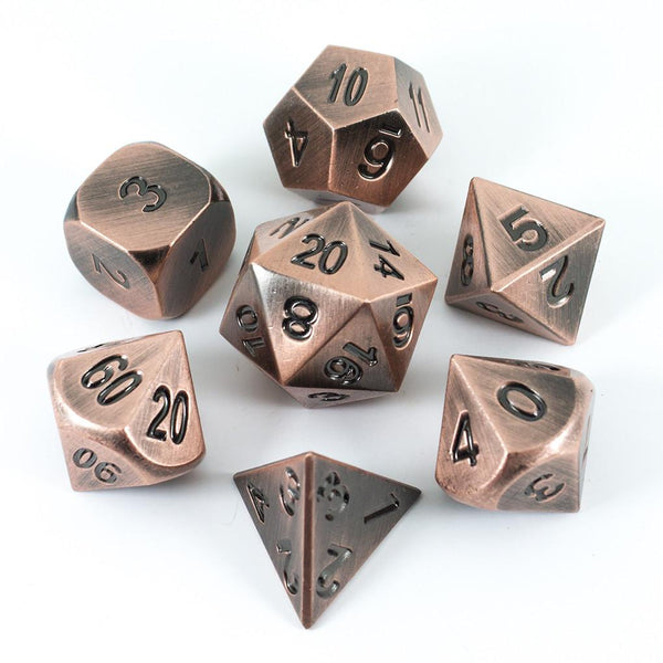 Paladin Roleplaying Antique Bronze Metal Dice Set, In Presentation Tin
