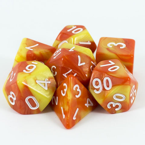 Orange and Yellow Polyhedral Dice Set - 'Dragons Fire'