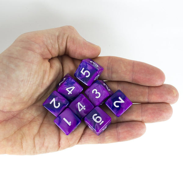 'Purple Worm' Purple and Blue 8 D6 Dice Set