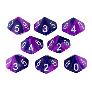 'Purple Worm' Purple and Blue 8 D10 Dice Set