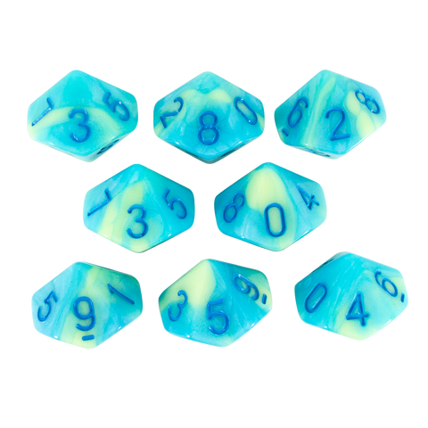 'Blue Mist' Blue and Yellow 8 D10 Dice Set