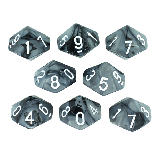 'Claws Of Darkness' Grey and Black 8 D10 Dice Set