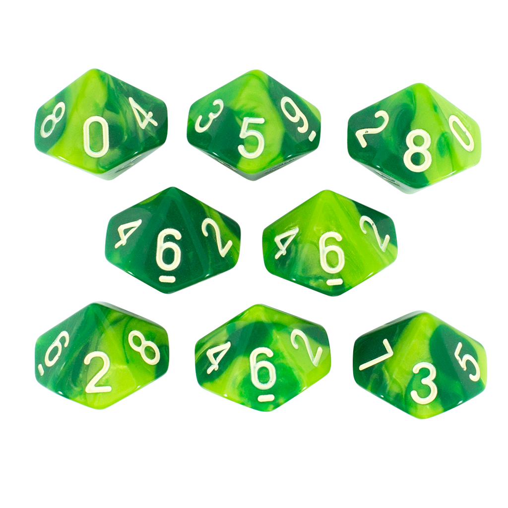 'Sylvan Glade' Marbled Green 8 D10 Dice Set