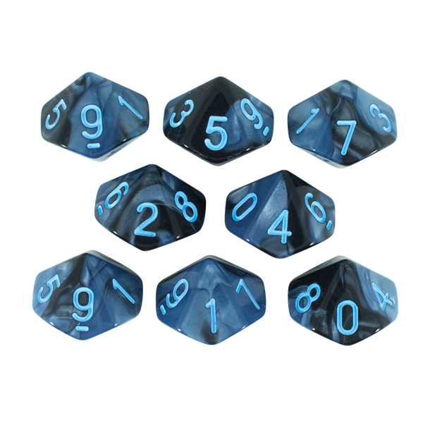 'Storm Lord' Grey and Blue 8 D10 Dice Set