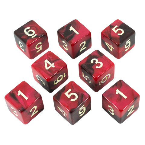 'Blood God' Red and Brown Marble 8 D6 Dice Set