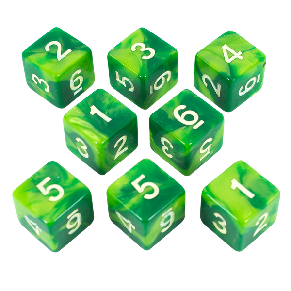 'Sylvan Glade' Marbled Green 8 D6 Dice Set