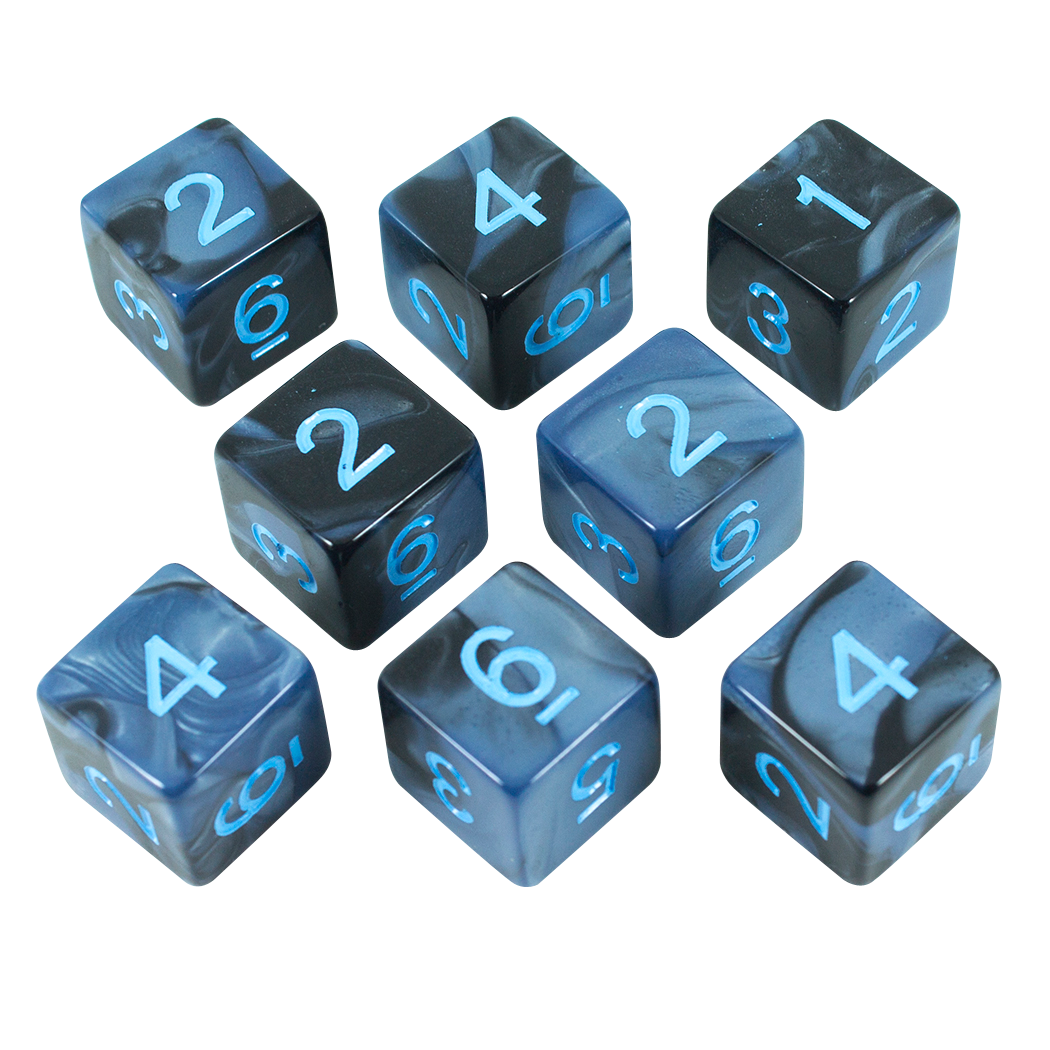 'Storm Lord' Grey and Blue Marble 8 D6 Dice Set