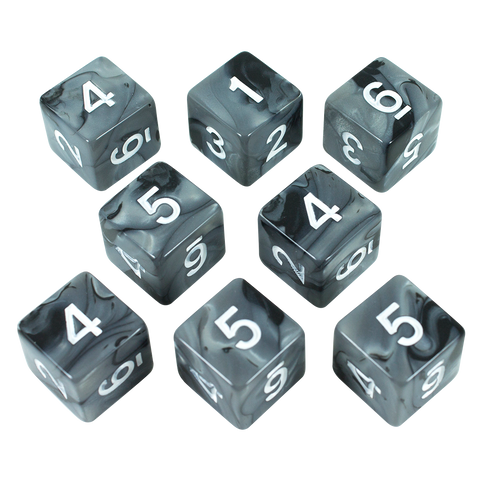 'Claws Of Darkness' Grey and Black Marble 8 D6 Dice Set