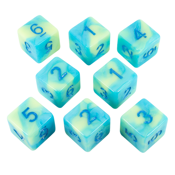 'Blue Mist' Blue and Yellow Marble 8 D6 Dice Set