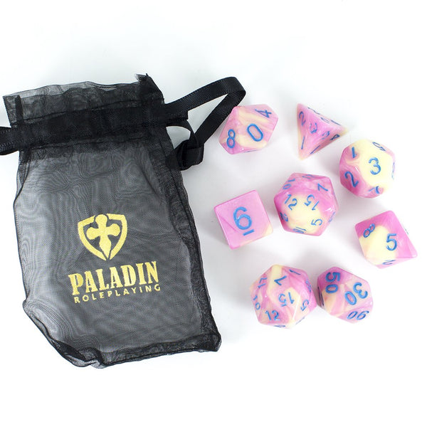 'Love Potion' Pink and Yellow Dice - Expanded Polyhedral Set With Extra D20