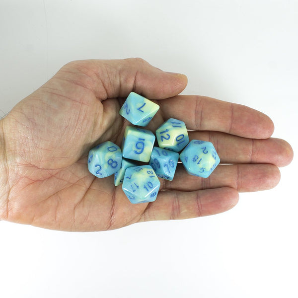 'Blue Mist' Blue and Yellow Dice - Expanded Polyhedral Set With Extra D20