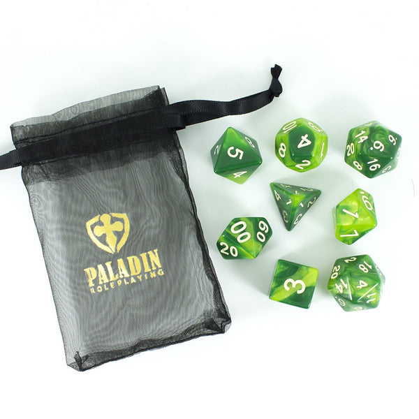 'Sylvan Glade' Marbled Green Dice - Expanded Polyhedral Set With Extra D20