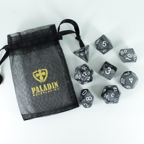 'Claws Of Darkness' Grey and Black Dice - Expanded Polyhedral Set With Extra D20