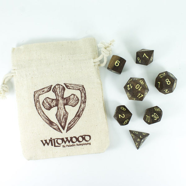 'Wildwood' Wooden DnD Dice - Full RPG Dice Set - Ebony