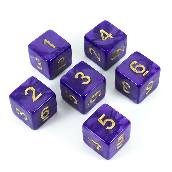 Paladin Roleplaying Purple D6 Dice - Pearl Effect - Set of Six (Gold ink)