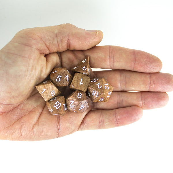 'Wildwood' Wooden DnD Dice - Full RPG Dice Set - Rosewood
