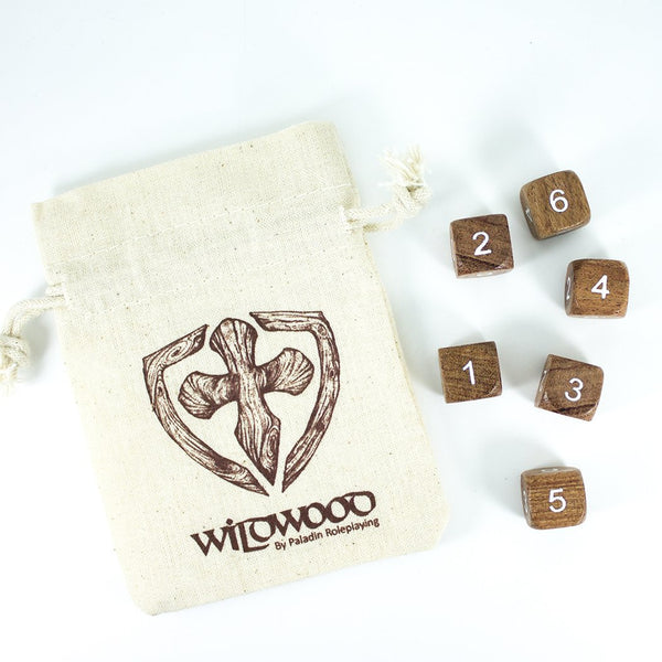 'Wildwood' Wooden DnD Dice - 6 D6 Set - Rosewood
