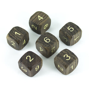 'Wildwood' Wooden DnD Dice - 6 D6 Set - Ebony