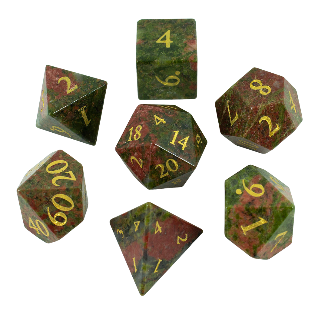 Luxury Stone DnD Dice - Unakite - Full RPG Set