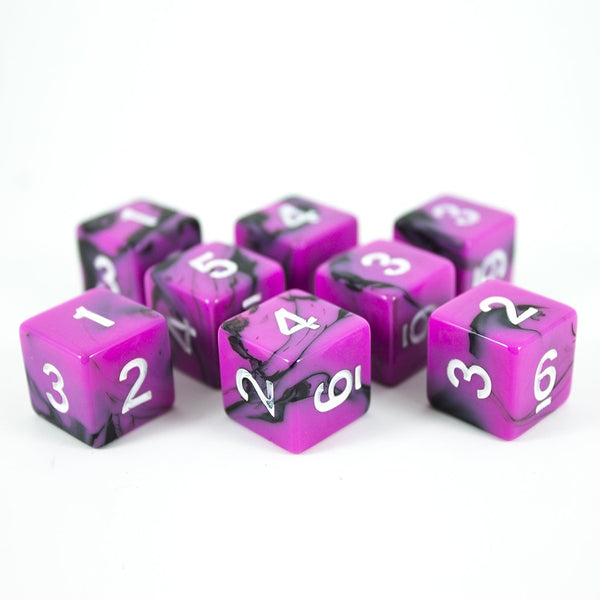 'Succubus' Pink and Black 8 D6 Dice Set