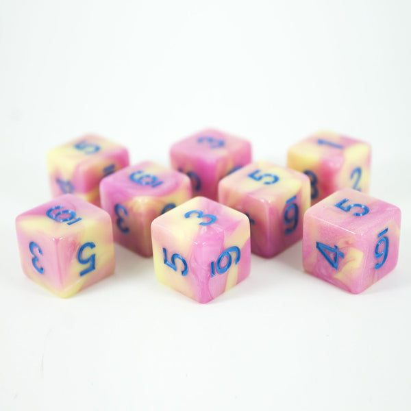 'Love Potion' Pink and Yellow Marble 8 D6 Dice Set