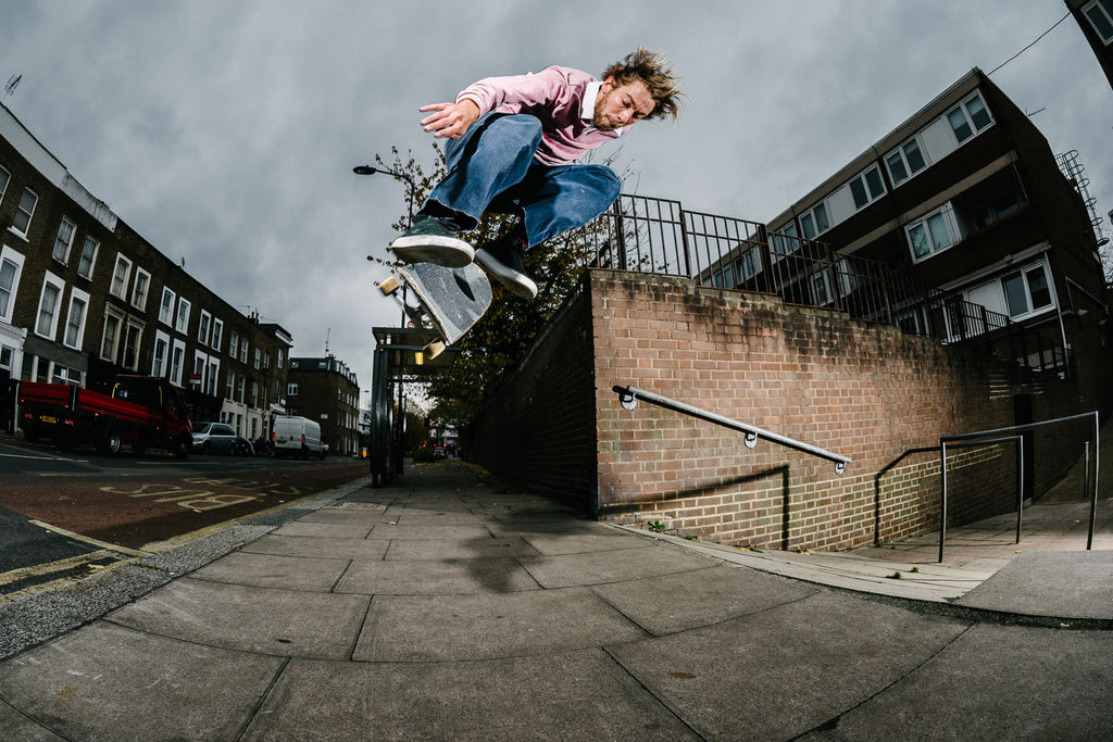 Chris Jones Backside Kickflip London 365 Days on Planet Earth photo Sam Ashley Free Skate Mag Welcome Skate Store Interview
