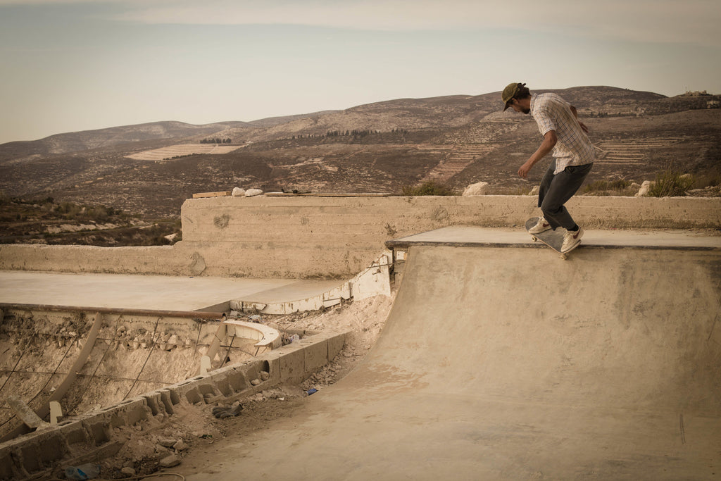 Chris Jones Feeble to fakie Asira Al-Shamaliya West Bank Palestine 2015 photo Emil Agerskov courtesy of SkatePal Welcome Skate Store Interview
