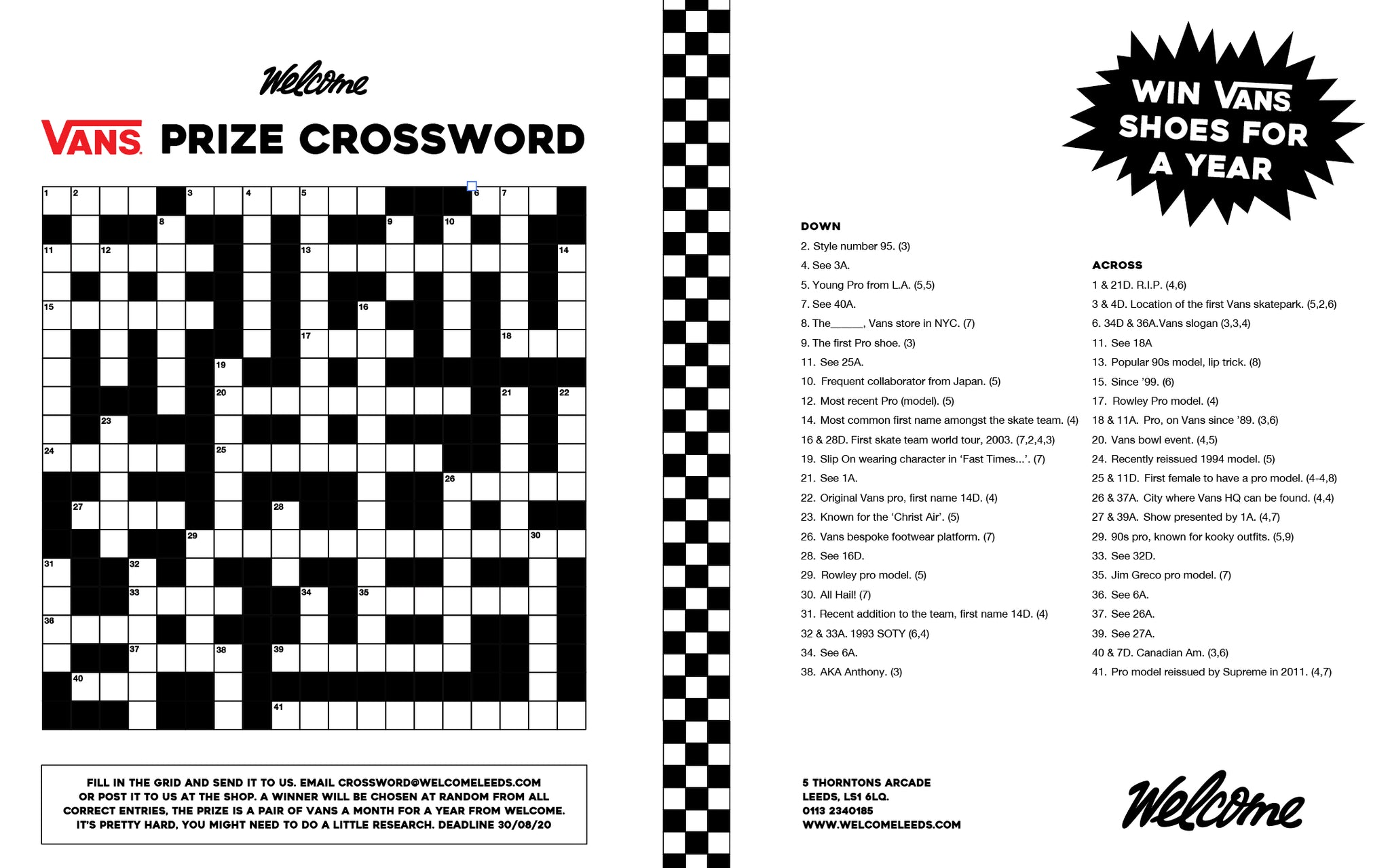Vans Prize Crossword