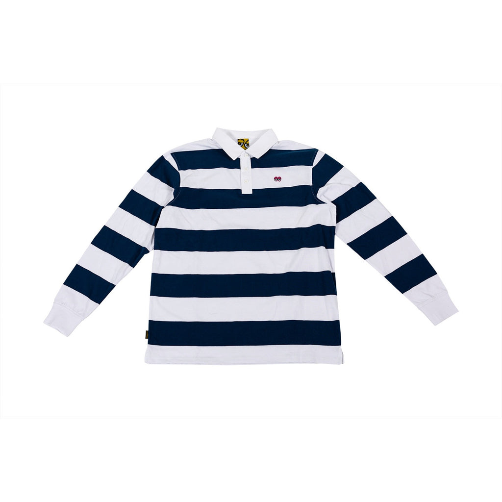 Krooked Skateboards - Eyes Striped Longsleeve Rugby Shirt - Navy / White