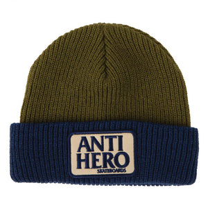 Anti Hero Skateboards - Reserve Patch Beanie - Navy / Olive