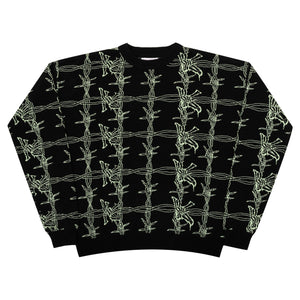 Yardsale - Barbera Knit Crewneck Sweatshirt - Black / Green