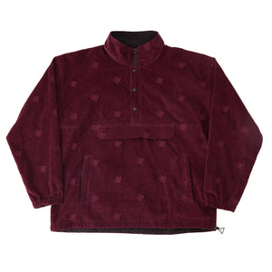 Bronze 56K - Allover Embroidered Cord Anorak Jacket - Maroon