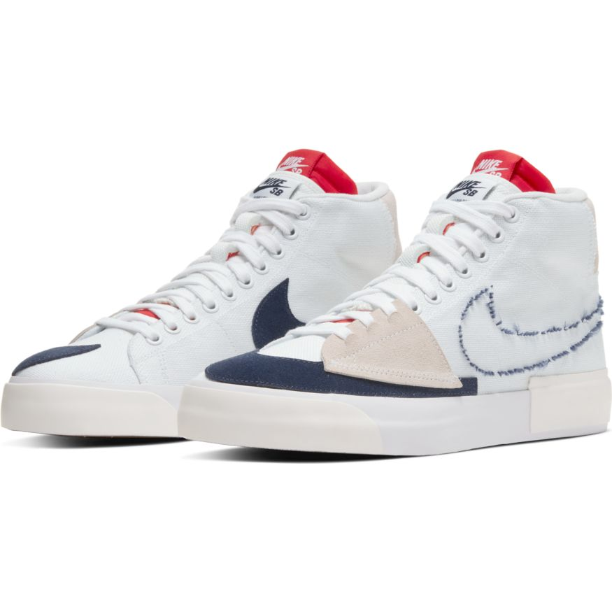 Nike SB - Blazer Mid Edge (Hack Pack) Shoes - White / Midnight Navy / University Red