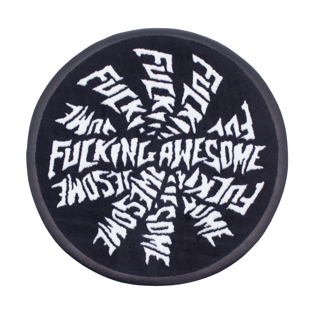 Fucking Awesome - Knitted Spiral Rug - Black / White