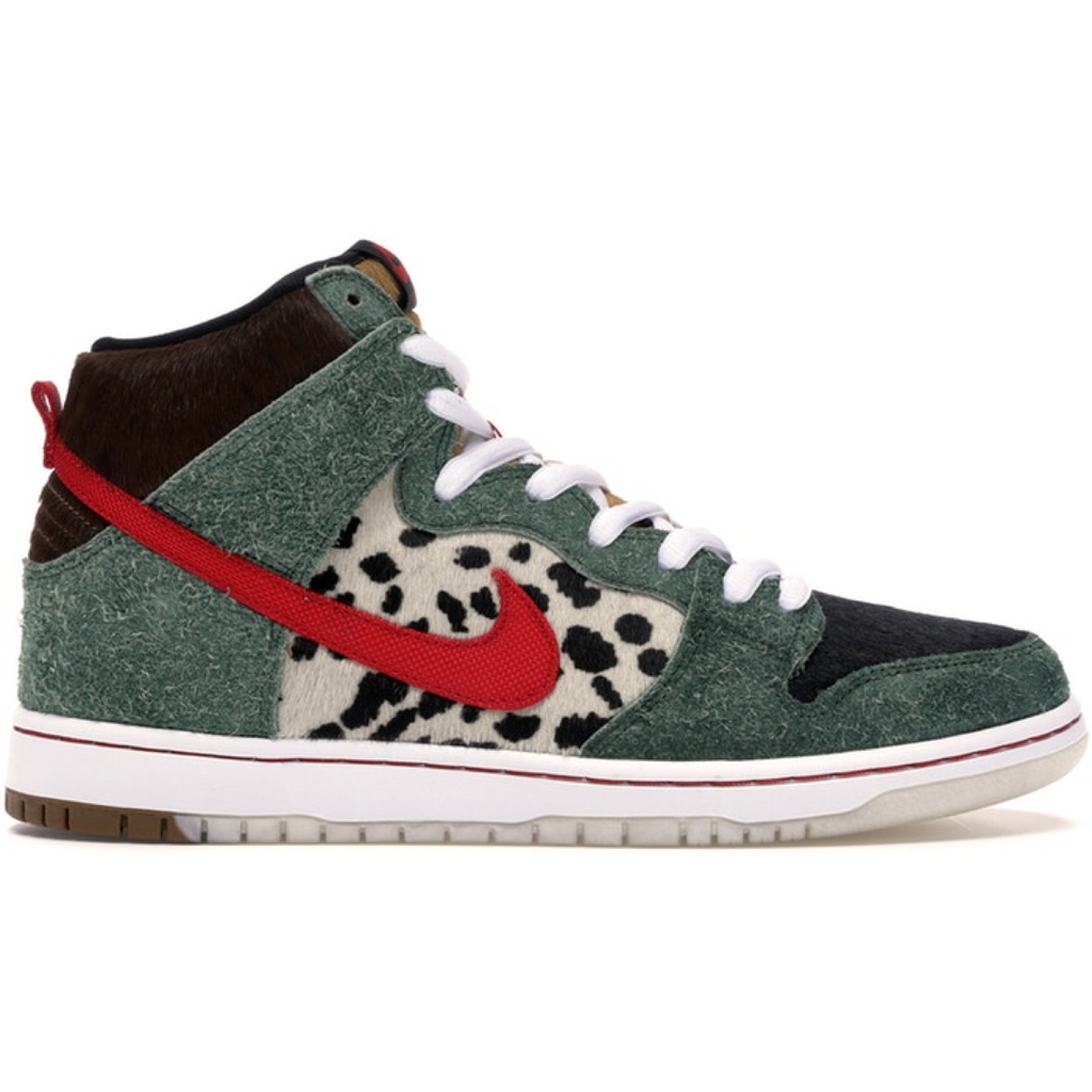 Nike SB - 4/20 Dogwalker Dunk High QS Shoes - Fir / University Red / Black / White