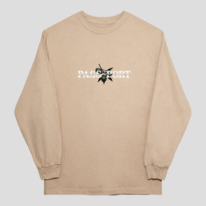 Pass Port Skateboards - Olive Puff Print Longsleeve T-Shirt - Sand