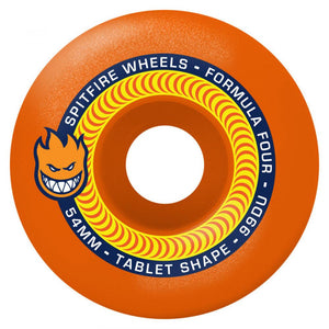 Spitfire - 53mm (99a) Formula Four Tablet Skateboard Wheels (Neon Orange)