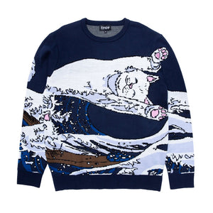 Rip N Dip - Great Wave Knitted Sweatshirt - Navy Blue