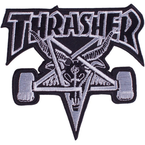 Thrasher - Sk8 Goat Patch - Black / Silver