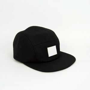 Post Details - Five Panel Wool Cap - Black