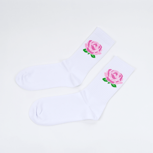 Post Details - Rose Logo Socks - White