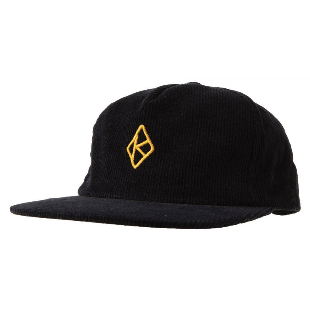 Krooked Skateboards - Diamond K Cord Strapback Cap - Black / Gold