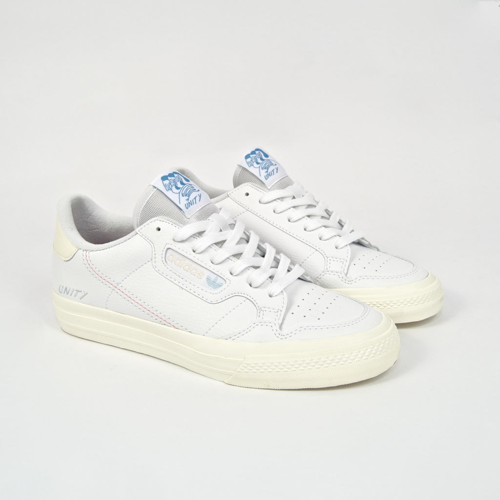 Adidas Skateboarding - Unity X Continental Vulc Shoes - Footwear White / Chalk White / Light Blue
