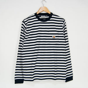 Carhartt WIP - Scotty Striped Pocket Longsleeve T-Shirt - Dark Navy / White