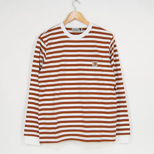 Carhartt WIP - Scotty Striped Pocket Longsleeve T-Shirt - Rum / White