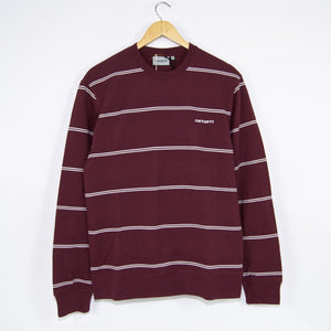 Carhartt WIP - Spacer Stripe Crewneck Sweatshirt - Shiraz / White