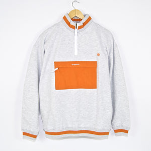 Magenta Skateboards - Kangoo Neck Zip Sweatshirt - Ash / Orange