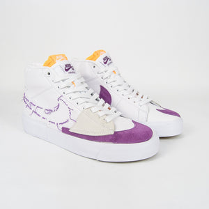 Nike SB - Blazer Mid Edge Shoes - White / Viotech Purple