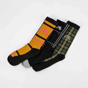Nike SB - Everyday Max Lightweight Crew Socks (3 Pack) - Orange / Black / Olive