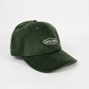 Welcome Skate Store - No Drama Cord Cap - Forest Green